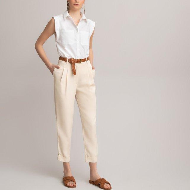 Ίσιο παντελόνι με πένσες από lyocell