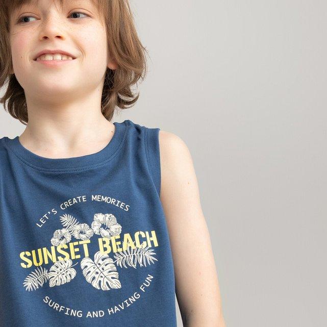 Αμάνικη εμπριμέ μπλούζα από οργανικό βαμβάκι, 3-12 ετών