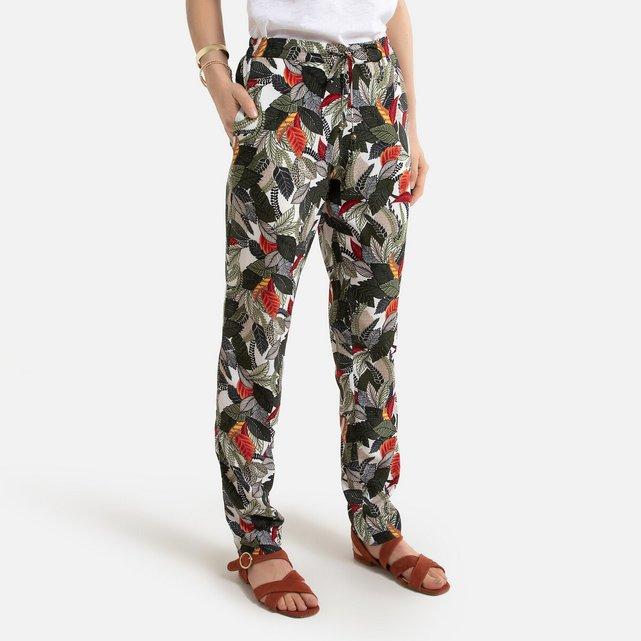 Παντελόνι σε γραμμή σωλήνα με φλοράλ μοτίβο