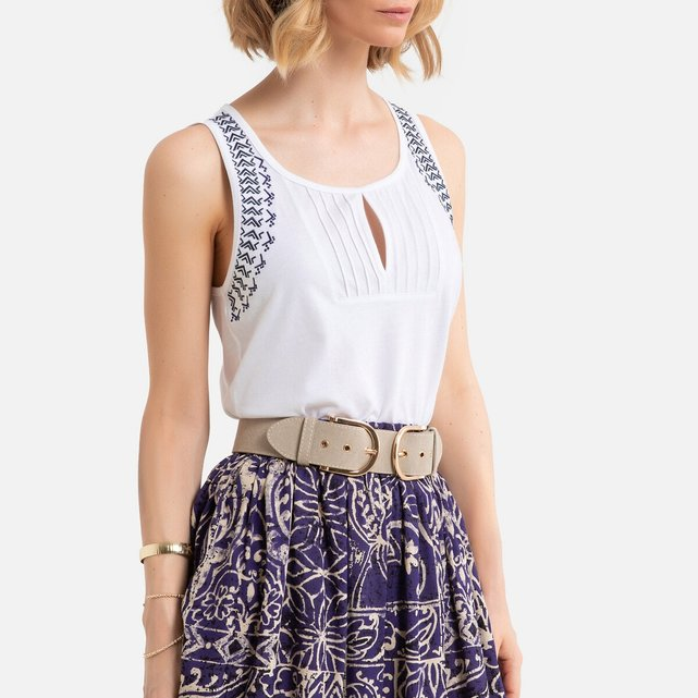 Αμάνικη μπλούζα από βαμβάκι και μοντάλ με κέντημα