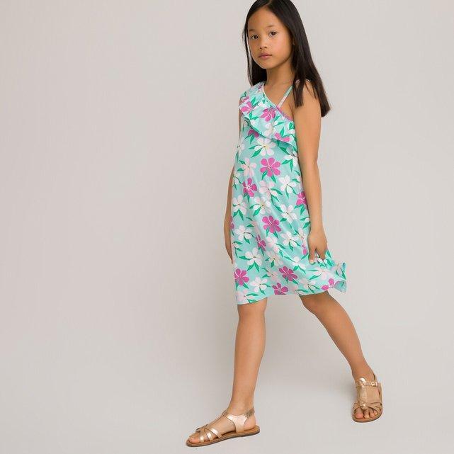Εμπριμέ έξωμο φόρεμα με βολάν από οργανικό βαμβάκι, 3-12 ετών