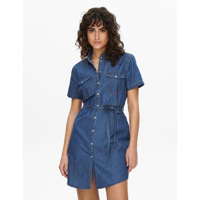 Κοντομάνικο τζιν σεμιζιέ φόρεμα