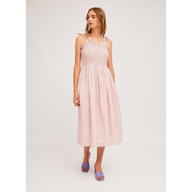 Μίντι φόρεμα με τιράντες και κεντήματα