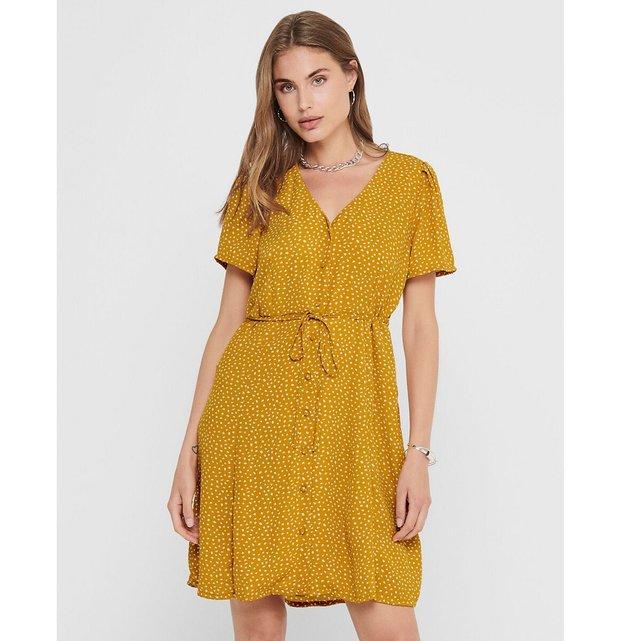 Πουά φόρεμα σε εβαζέ γραμμή με ζώνη