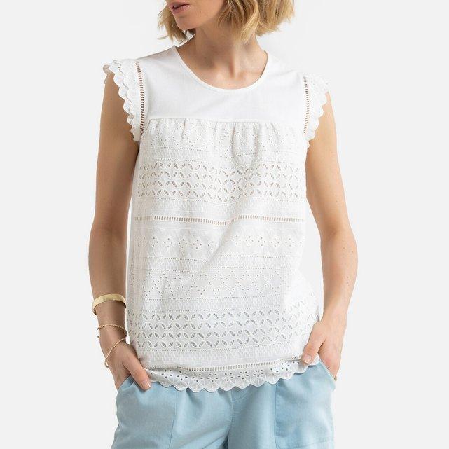 Κοντομάνικη μπλούζα με κοφτό κέντημα
