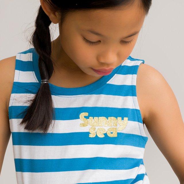 Αμάνικη κοντή ριγέ μπλούζα από οργανικό βαμβάκι, 3-12 ετών