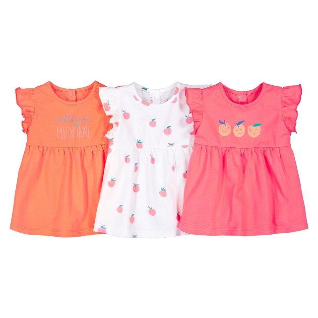 Σετ 3 κοντομάνικες μπλούζες από οργανικό βαμβάκι με βολάν, 3 μηνών - 4 ετών