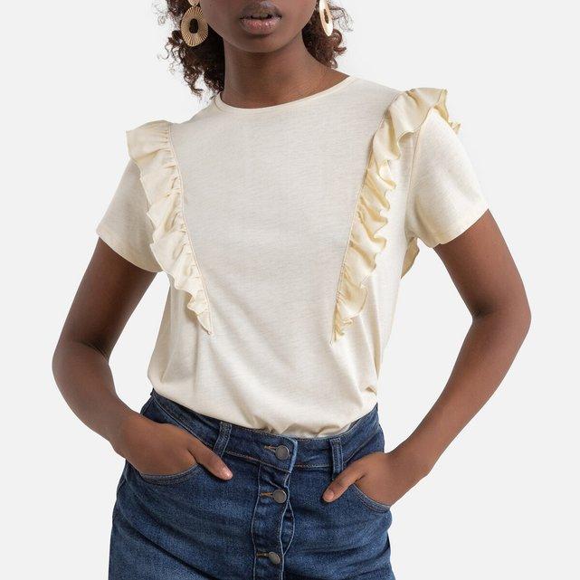 Κοντομάνικη μπλούζα με βολάν