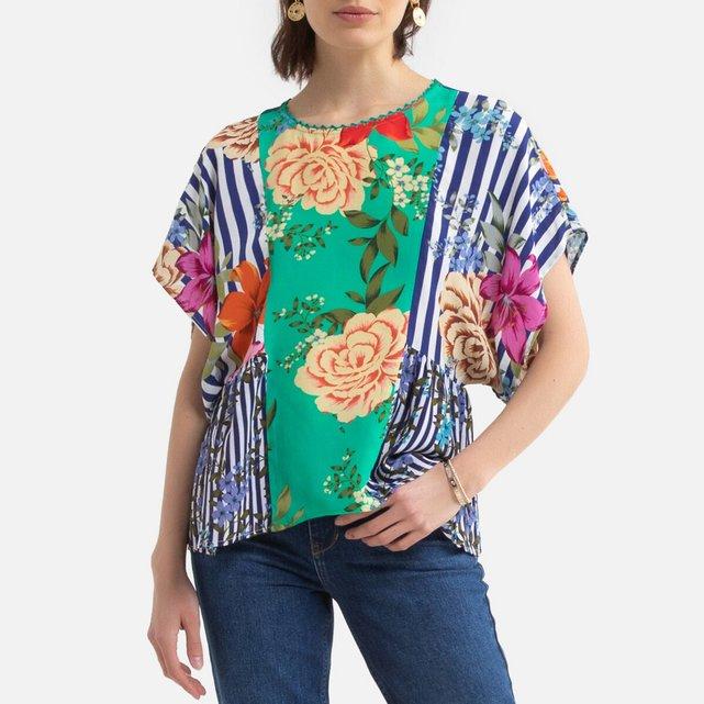 Εμπριμέ μπλούζα με στρογγυλή λαιμόκοψη, Eole