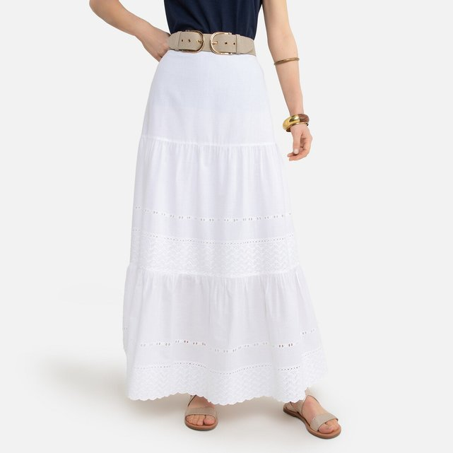 Μακριά φούστα με κοφτό κέντημα