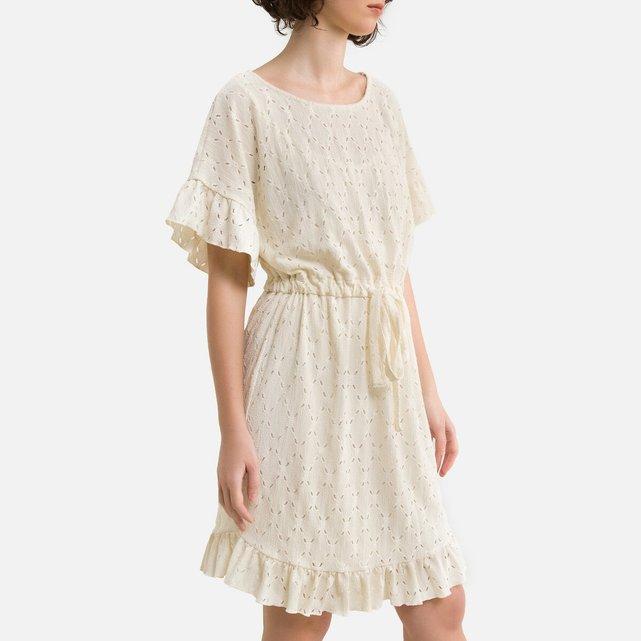Κοντό φόρεμα με κέντημα και ζώνη