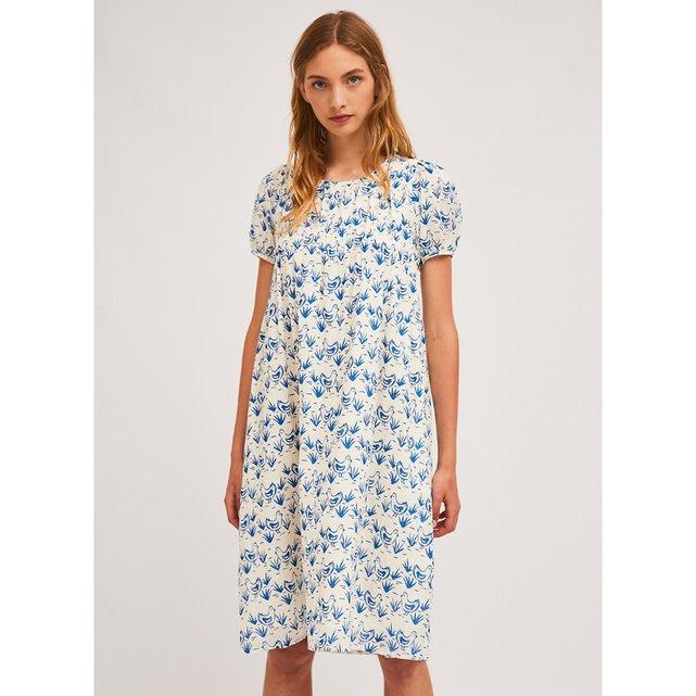 Κοντομάνικο μίντι φόρεμα με εμπριμέ μοτίβο