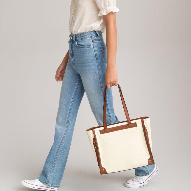 Μεγάλη υφασμάτινη τσάντα με λεπτομέρειες σε αντίθεση