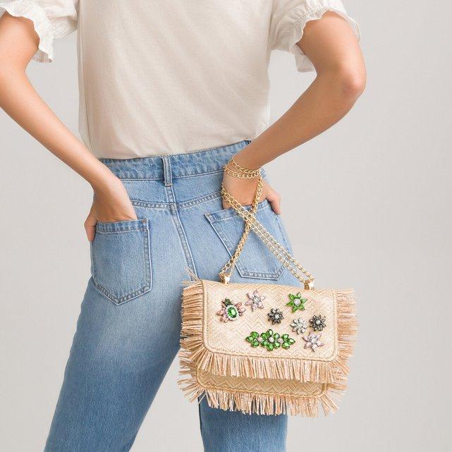 Τσάντα με καπάκι και λουλούδια από στρας