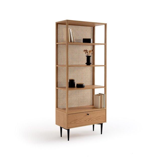 Βιβλιοθήκη από ξύλο δρυ και ψάθα ρατάν, Noya