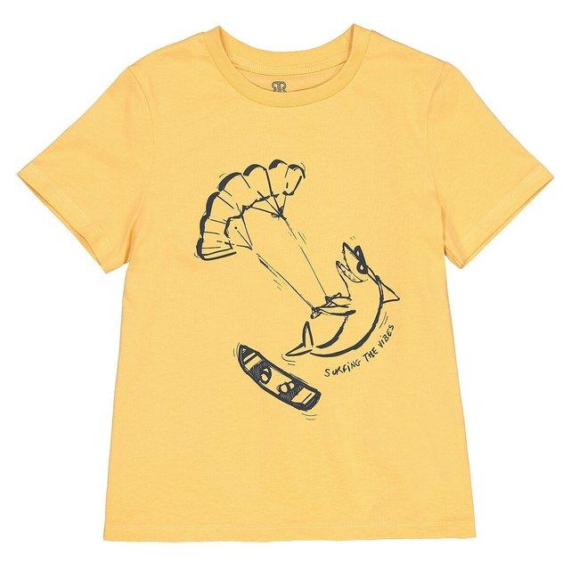 Κοντομάνικο T-shirt με στάμπα μπροστά, 3-12 ετών