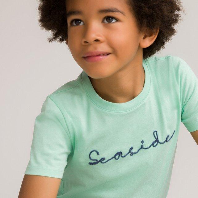 Κοντομάνικο T-shirt με κέντημα από οργανικό βαμβάκι, 3-12 ετών