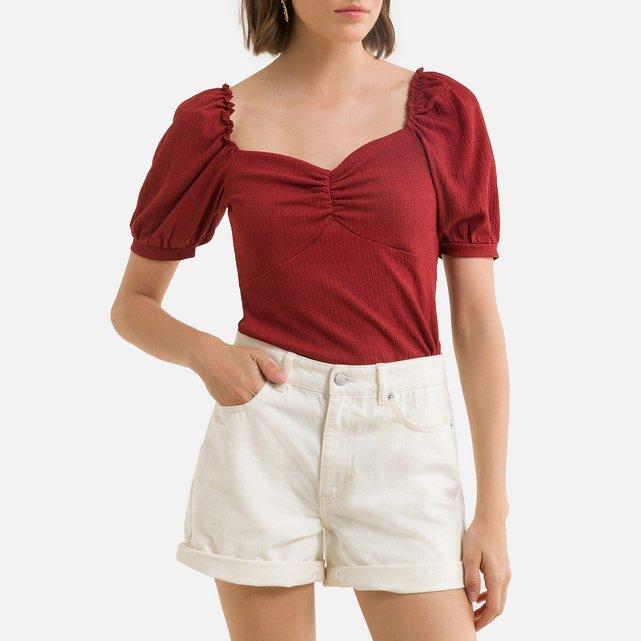 Κοντομάνικη μπλούζα με τετράγωνη λαιμόκοψη