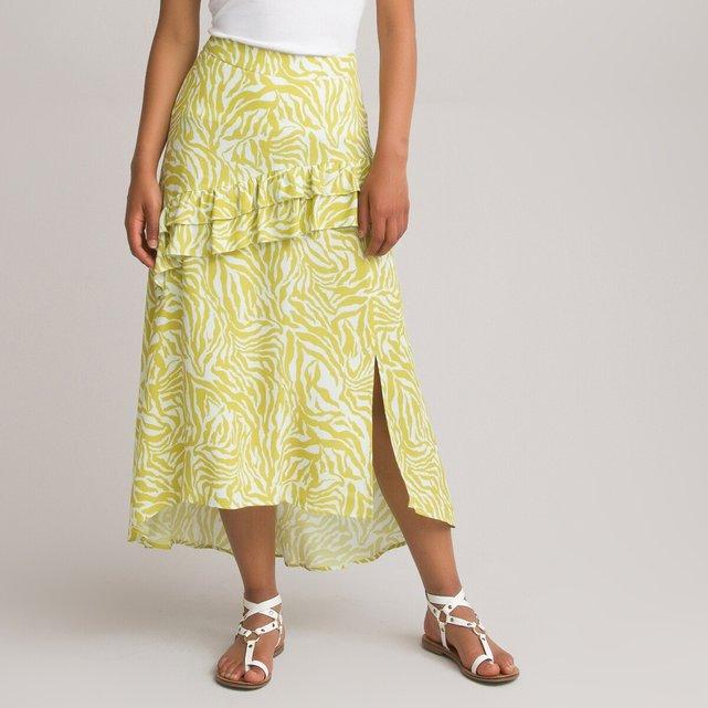 Μακριά ασύμμετρη φούστα με animal print
