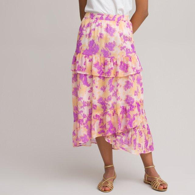 Μακριά φούστα με βολάν και μοτίβο tie & dye