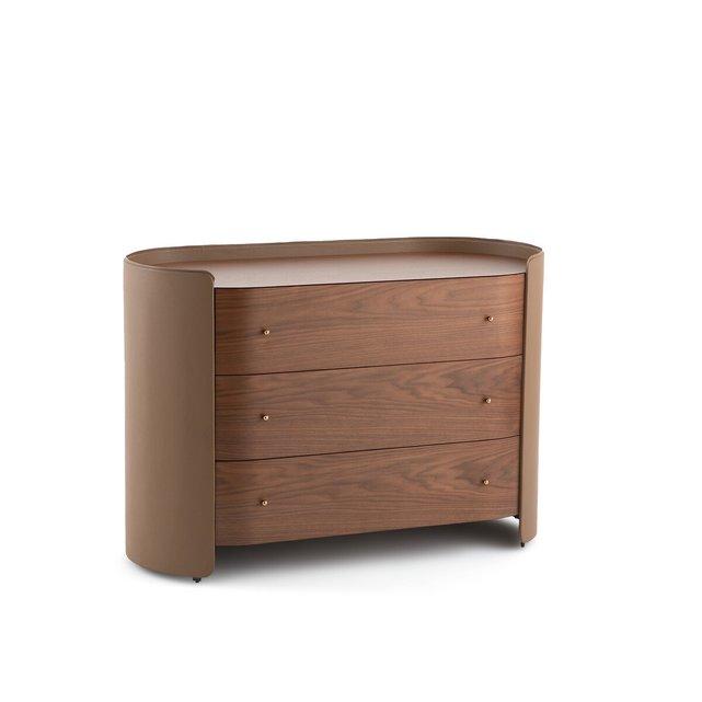 Συρταριέρα από ξύλο καρυδιάς και δέρμα, Firmo