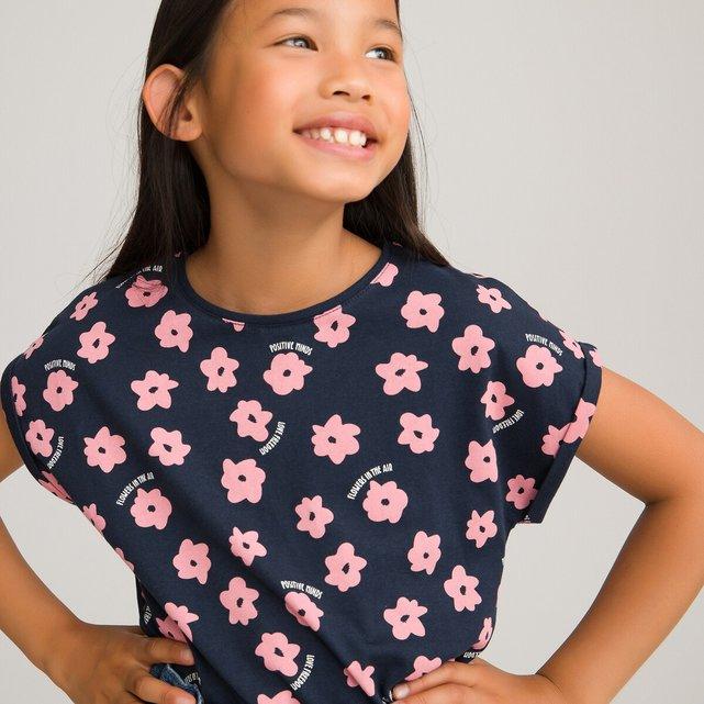 T-shirt από οργανικό βαμβάκι με φλοράλ μοτίβο