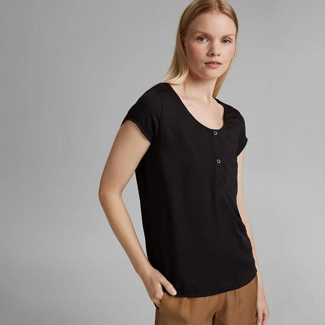Μπλούζα με στρογγυλή λαιμόκοψη και κουμπιά