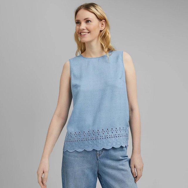 Αμάνικη μπλούζα με στρογγυλή λαιμόκοψη και κέντημα
