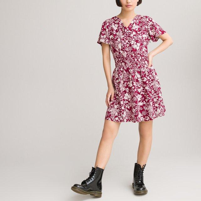 Φόρεμα με σούρες και φλοράλ μοτίβο, 10-18 ετών