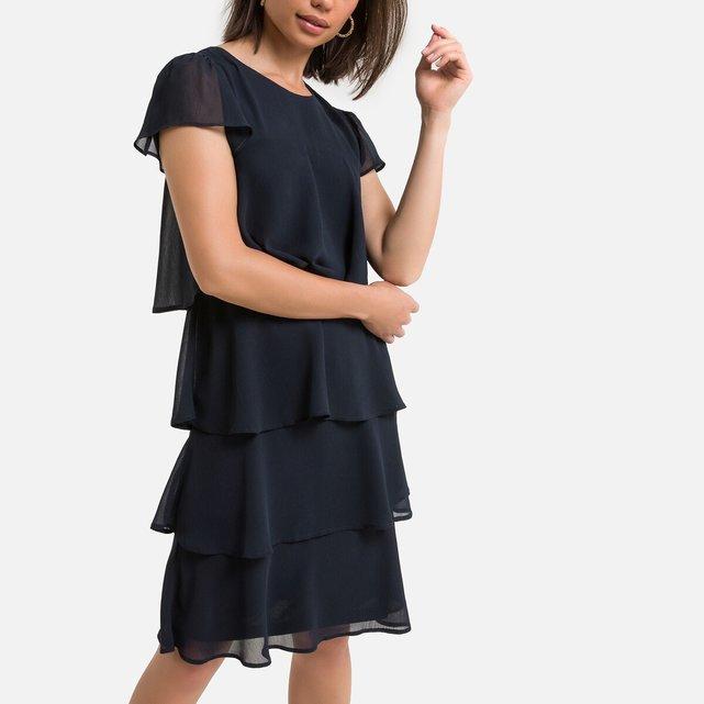 Κοντομάνικο μίντι φόρεμα σε ίσια γραμμή