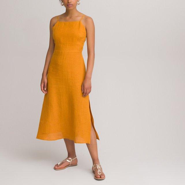 Λινό φόρεμα με λεπτές τιράντες