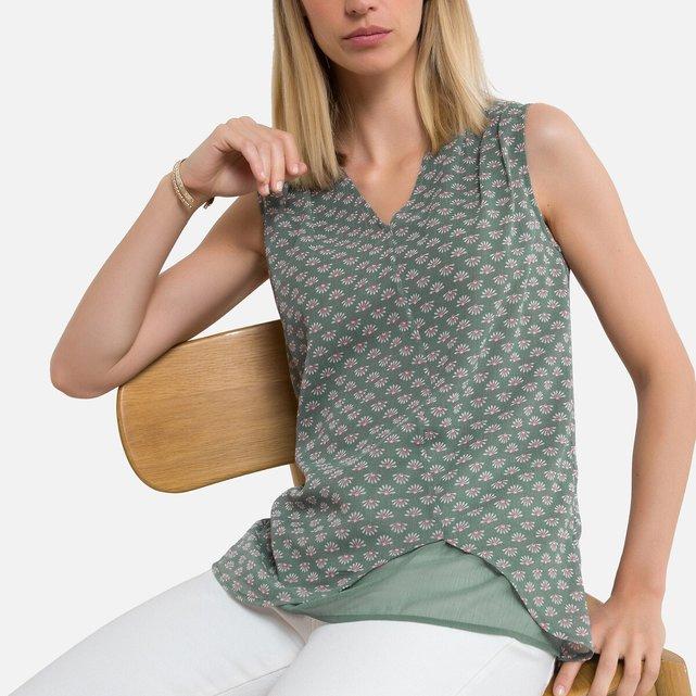 Αμάνικη φλοράλ μπλούζα 2 σε 1