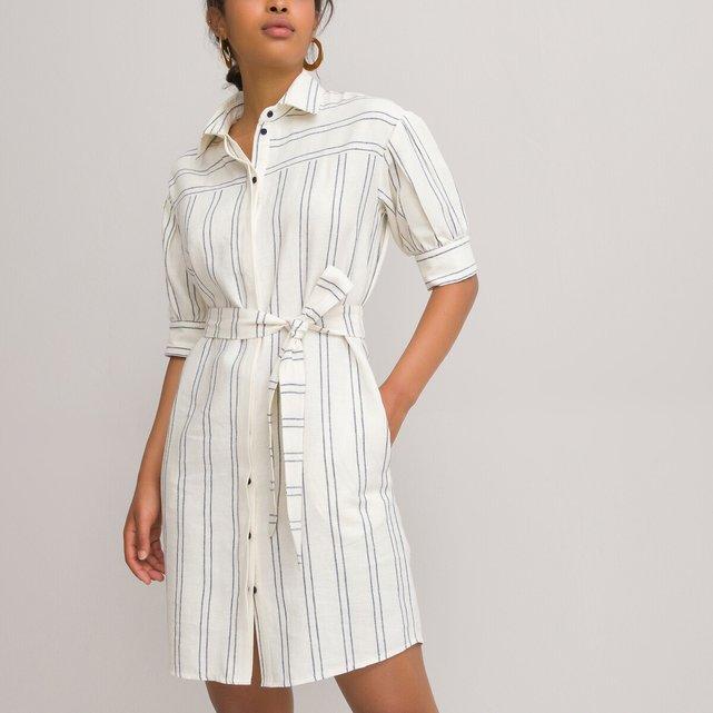 Ριγέ σεμιζιέ φόρεμα με λινό στη σύνθεση