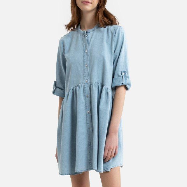 Τζιν σεμιζιέ φόρεμα με μανίκια 3|4 και μάο γιακά