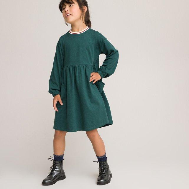 Μακρυμάνικο φόρεμα με στρογγυλή λαιμόκοψη, 3-12 ετών