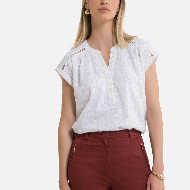 Κοντομάνικη μπλούζα με λαιμόκοψη κελεμπίας
