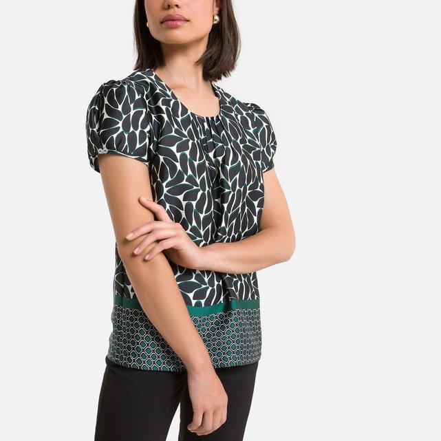 Κοντομάνικη μπλούζα με εμπριμέ μοτίβο