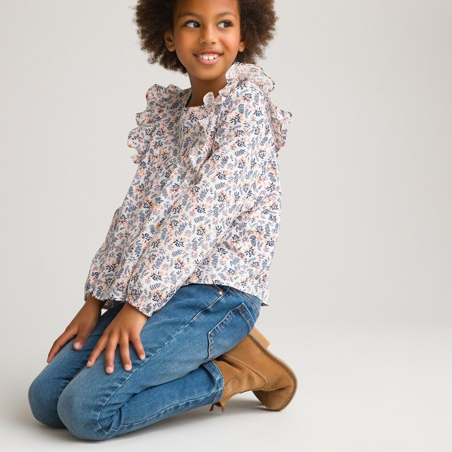 Φλοράλ μπλούζα με βολάν, 3-12 ετών