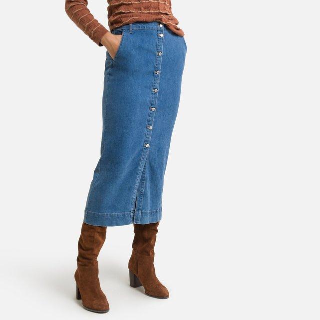 Ίσια μίντι φούστα από ντένιμ