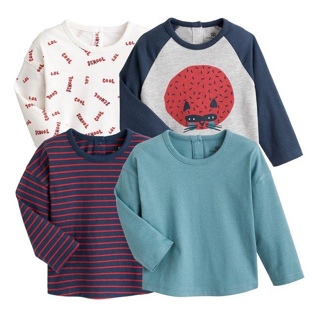 Σετ 4 μακρυμάνικες μπλούζες, 1 μηνός - 4 ετών