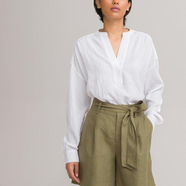 Μακρυμάνικη άνετη μπλούζα με μάο γιακά