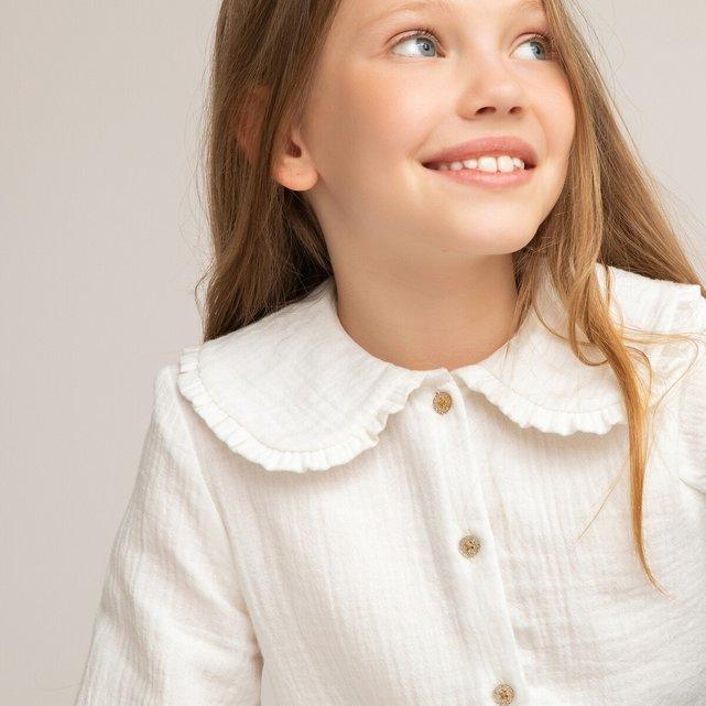 Μπλούζα με στρογγυλό γιακά από βαμβακερή γάζα, 3 - 12 ετών