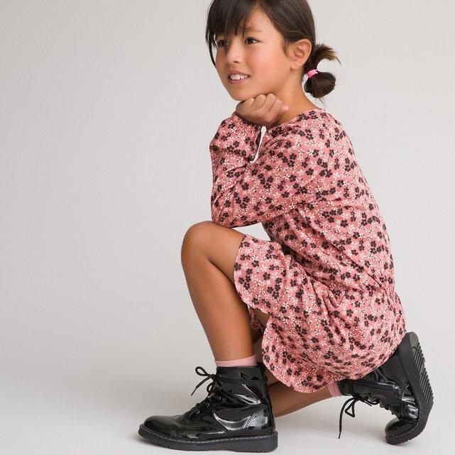 Εμπριμέ μακρυμάνικο φόρεμα, 3-12 ετών