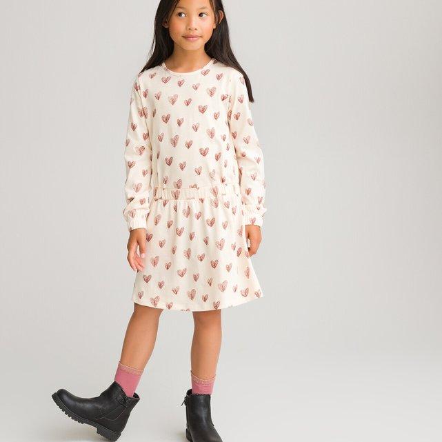Μακρυμάνικο φόρεμα με καρδούλες, 3-12 ετών
