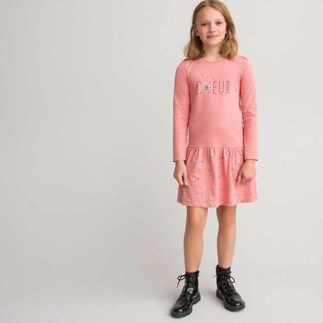 Μακρυμάνικο εμπριμέ φόρεμα, 3-12 ετών
