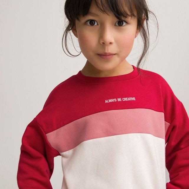 Τρίχρωμο φούτερ από φανέλα με στρογγυλή λαιμόκοψη, 3-14 ετών