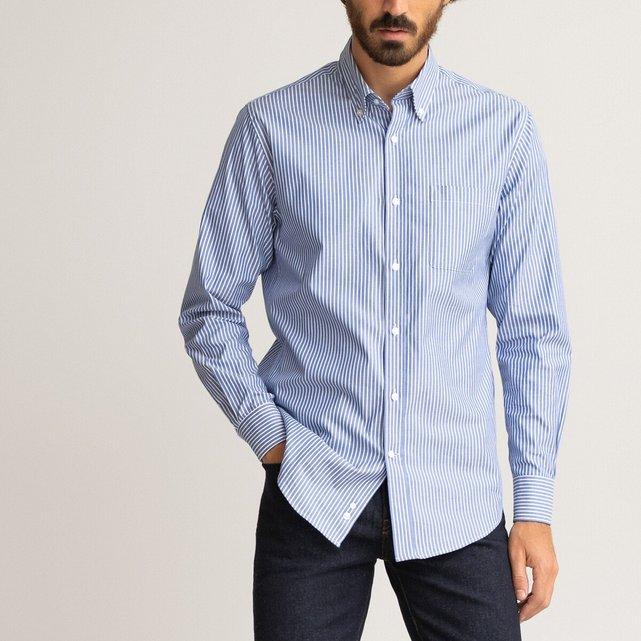 Μακρυμάνικο ριγέ πουκάμισο oxford σε ίσια γραμμή