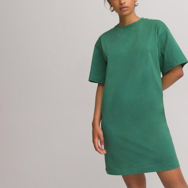 Κοντό ριχτό φόρεμα με στρογγυλή λαιμόκοψη