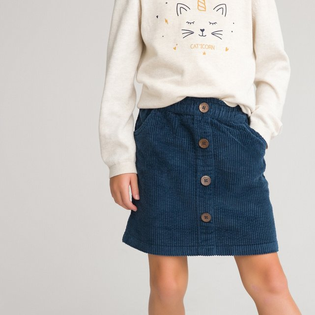 Ίσια φούστα από βελούδο κοτλέ, 3-12 ετών