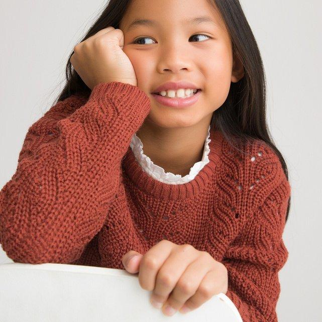 Πλεκτό με στρογγυλή λαιμόκοψη και αζούρ πλέξη, 3-12 ετών